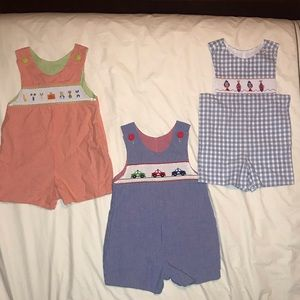 boutique smocked shortall Romper fish tool police